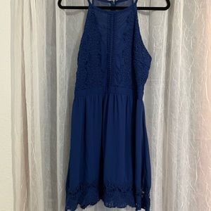 Blue lacy and sheer dress from Franchesca